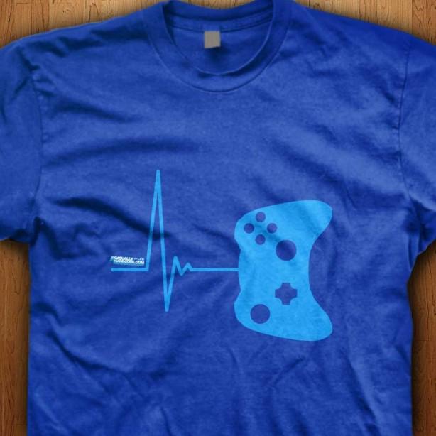 Gamer-Heart-Beat-Blue-Shirt